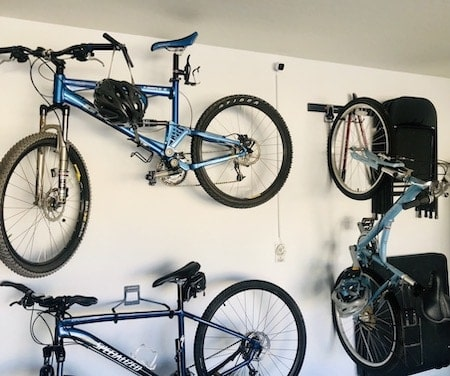 Organize your garage with horizontal and vertical hooks for bikes