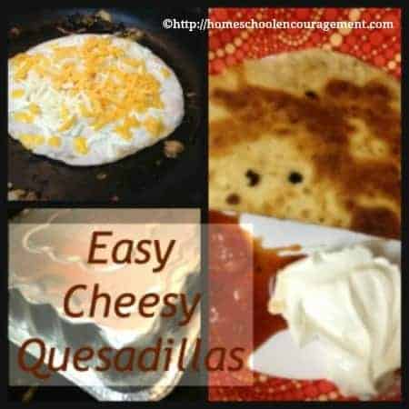 Looking for a super easy, fairly cheap meal to feed your kids?  Have you tried a cheese quesadillas.  They are quick and easy as a snack, homeschool lunch or an easy dinner for the whole family.