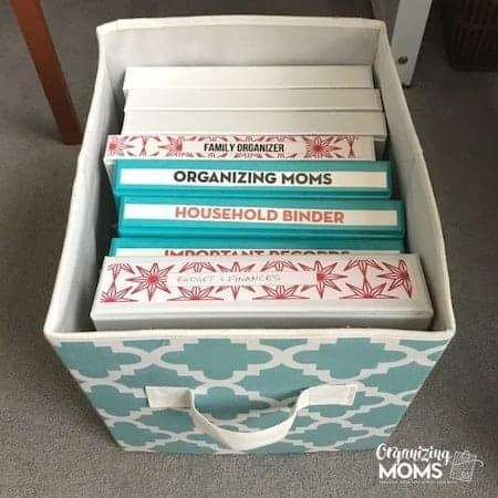 Organize home office supplies: home management binder