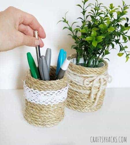 Bedroom and bathroom makeup storage tips: rope basket organizers