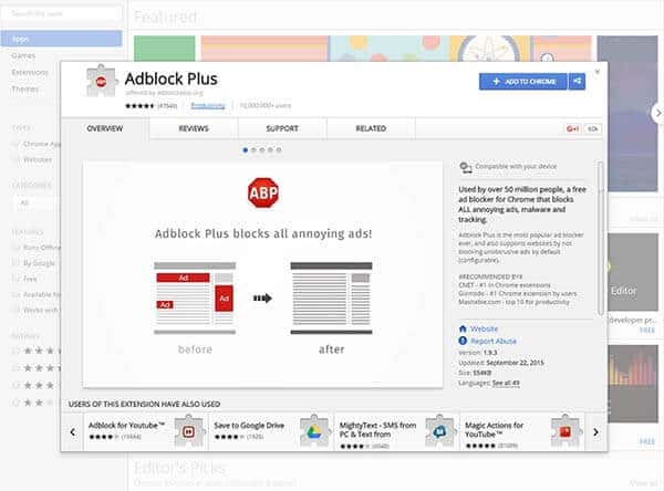 Adblock Plus page at the Chrome store