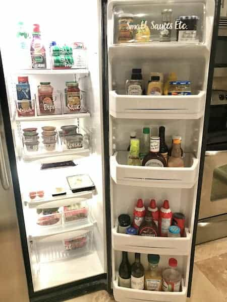 organize a side-by-side refrigerator