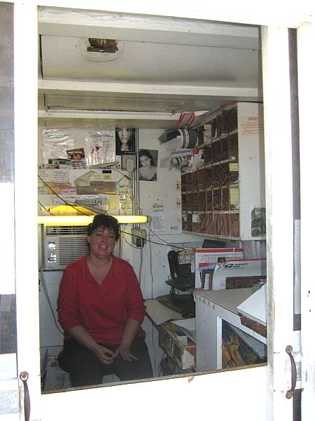 Inside the Ochopee Post Office, smallest post office in the US.