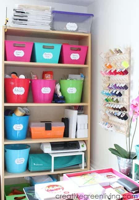 Organize home office supplies: bookshelves
