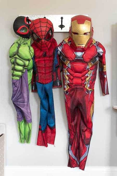 Toy Storage: Hooks for Costumes in the Playroom