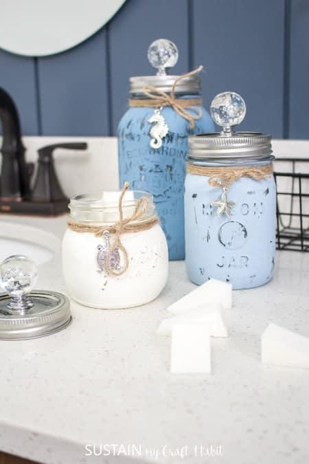 Bedroom and Bathroom Makeup Storage Tips: DIY Painted Mason Jars