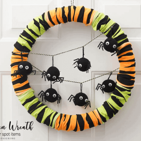 Such a fun and easy Halloween Wreath made only from items found at the dollar spot
