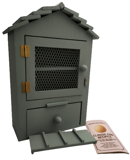 Image shows the egg house, the slope and the egg recipe leaflet.