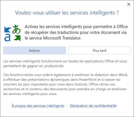 Office - activation services intelligents