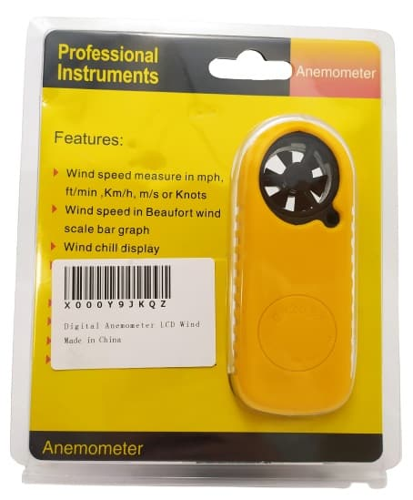 Image shows the outer packaging of the Amgaze Digital Anemometer.