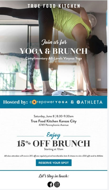 True Food Kitchen yoga email