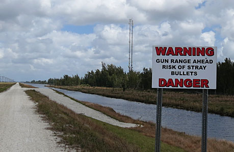 This warning sign, on the levee running north from Markham Park, prompted us to take the other levee trail.
