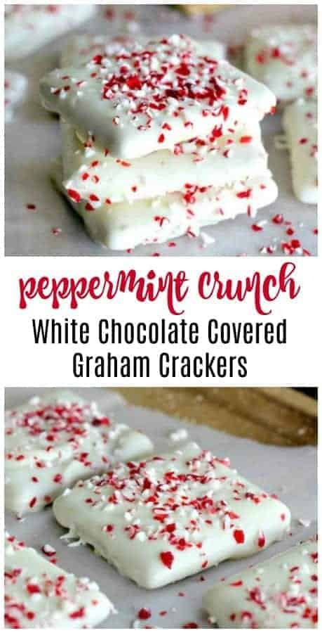 Peppermint Crunch White Chocolate Covered Graham Crackers