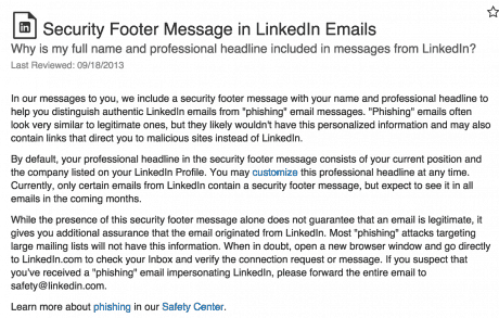 Security Footer LinkedIn