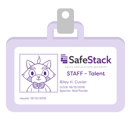 SafeStack staff identification badge for red panda Riley H. Cuvier