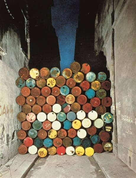 Christo and Jeanne-Claude, Wall of Oil Barrels – The Iron Curtain, 1962, Paris.