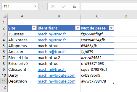 Mots de passe dans un fichier