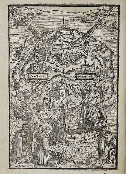 Woodcut by Ambrosius Holbein illustrating a 1518 edition of Thomas More's Utopia