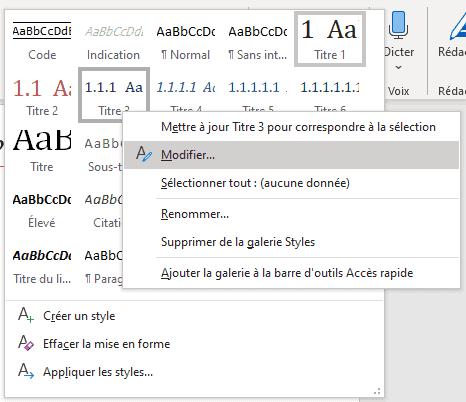 Menu contextuel pour modifier un style Word