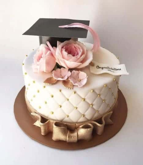 Elegant Graduation Cake gold with pink flowers
