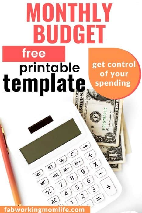 monthly budget free printable template