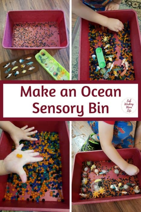 Ocean Sensory Bin for Toddlers and Preschoolers | Fab Working Mom Life #sensorybin #sensoryplay #toddlers #preschoolers #parenting #toddleractivities #sharkweek #ocean