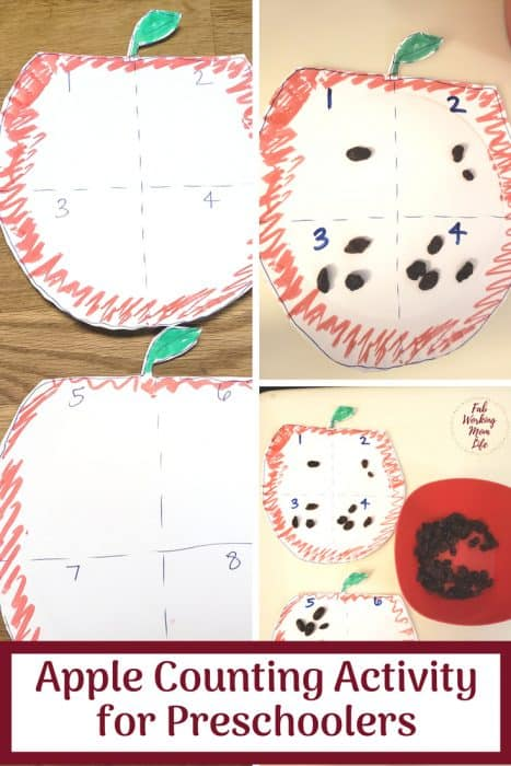 Try this Easy Apple Counting Activity for Preschoolers that's perfect for back to school season | Fab Working Mom Life #preschool #backtoschool #preschoolers #apples