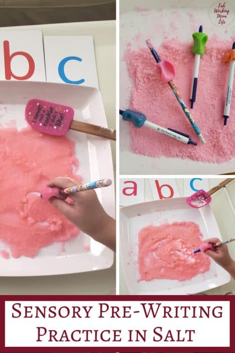 Pre-Writing Practice in Colored Salt with Preschoolers | Fab Working Mom Life #sensory #preschool This activity helps teach preschoolers proper pencil technique for future writing and provides a great sensory input activity too