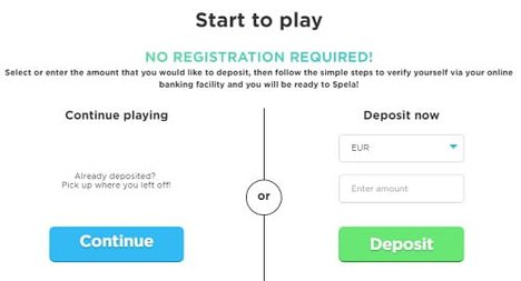 Register Now or Play via Pay N Play (Trustly - no account needed