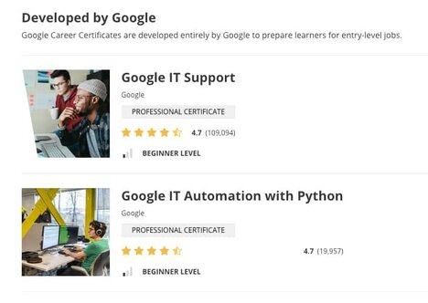 Coursera Google certificates