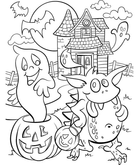 Free Haunted House Coloring Page