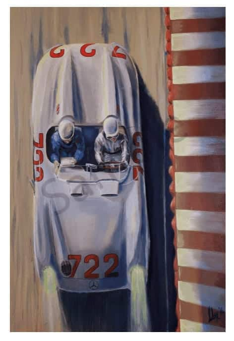 STIRLING MOSS & DENNIS JENKINSON - MERCEDES-BENZ SLR,giclee-print,mille-miglia