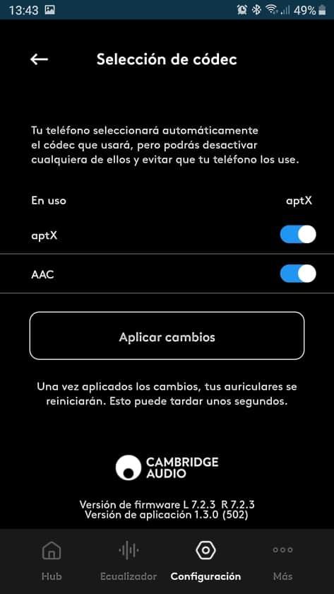 Codecs aptX y AAC Melomania 1+