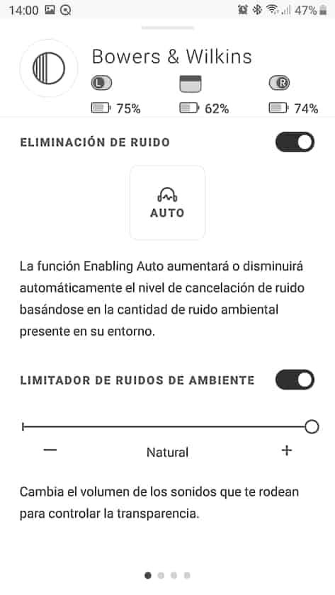 Control de la cancelación de ruido y modo de transparencia en la app