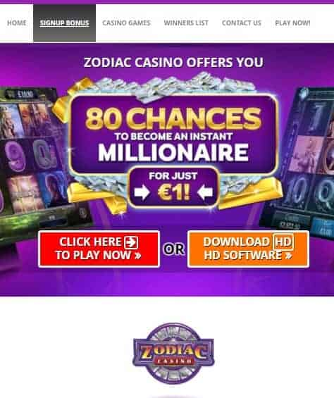 Zodiac Casino free bonus games