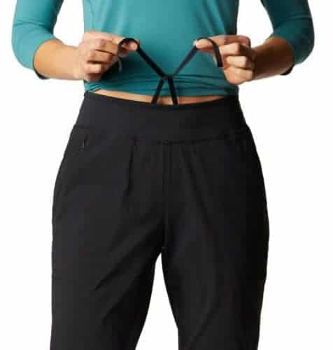 Mountain hardwear hiking pants are stretchy, wide through the hip and have a drawstring waist.