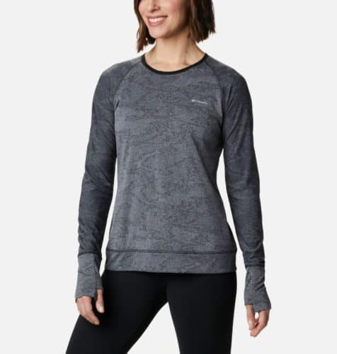 Columbia's gray adventura shirt is a warm and stretchy base layer for fall hiking.