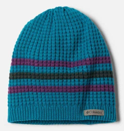 This beanie hat from columbia is the right weight for outdoor fun in the fall and comes in 3 colors.