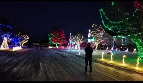 Christmas Lights on Rosewood in Hesston KS