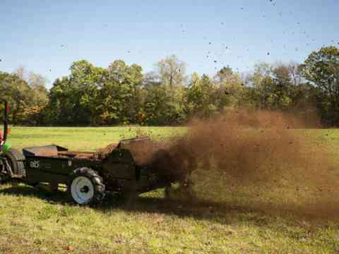 Tractor Pull behind 85 Ground drive manure spreader in pasture