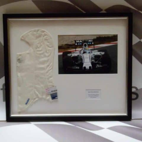 NOW SOLD-Framed Race Worn Massa Balaclava