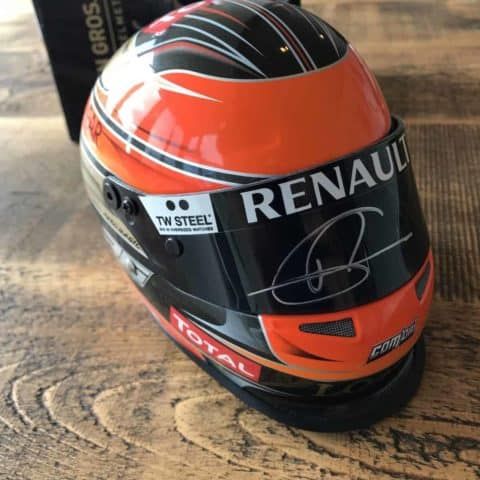 Signed Romain Grosjean Mini Helmet 1:2 Scale
