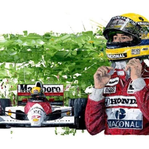 Ayrton Senna 3-Time World Champion - Giclee Print