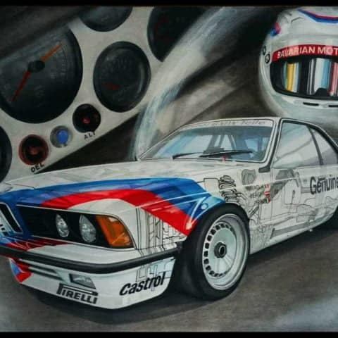 BMW E24 M6 Original Car Drawing Painting Poster Illustration Automotive Art