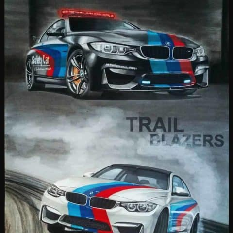 BMW M4 Motorsport Original Car Drawing Painting Poster Illustration Automotive Art