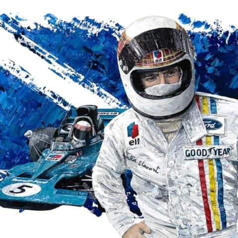 Sir Jackie Stewart 3-Time World Champion - Giclee Print