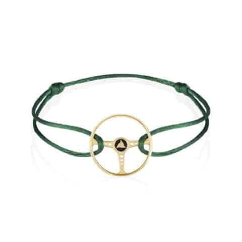 14K GOLD REVIVAL STEERING WHEEL ON BRITISH GREEN CORD