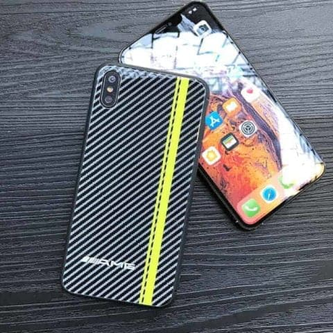 Carbon Fibre AMG Yellow Line Phone Case