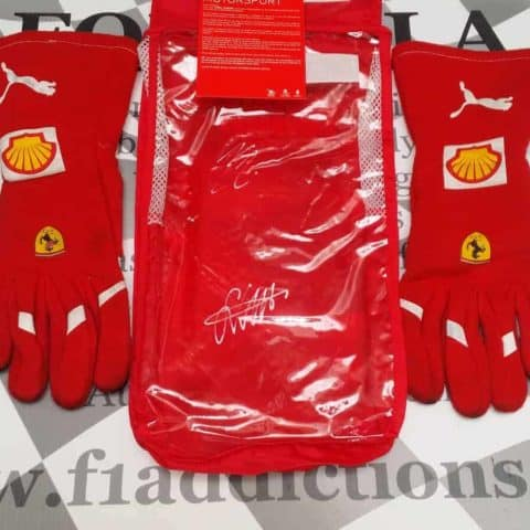 2017 Ferrari mechanics gloves signed by Vettel and Raikkonen on pouch