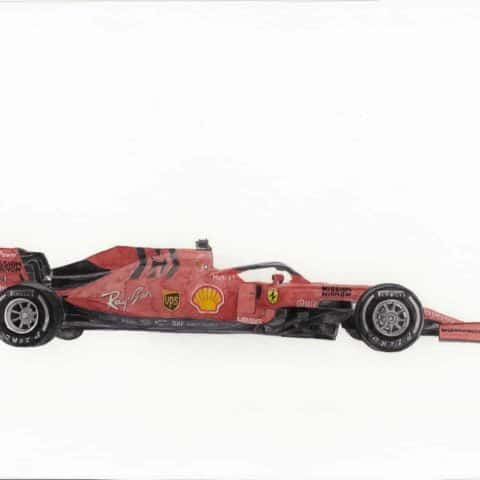 ORIGINAL Ferrari F1 SF90 2019 Watercolour Painting